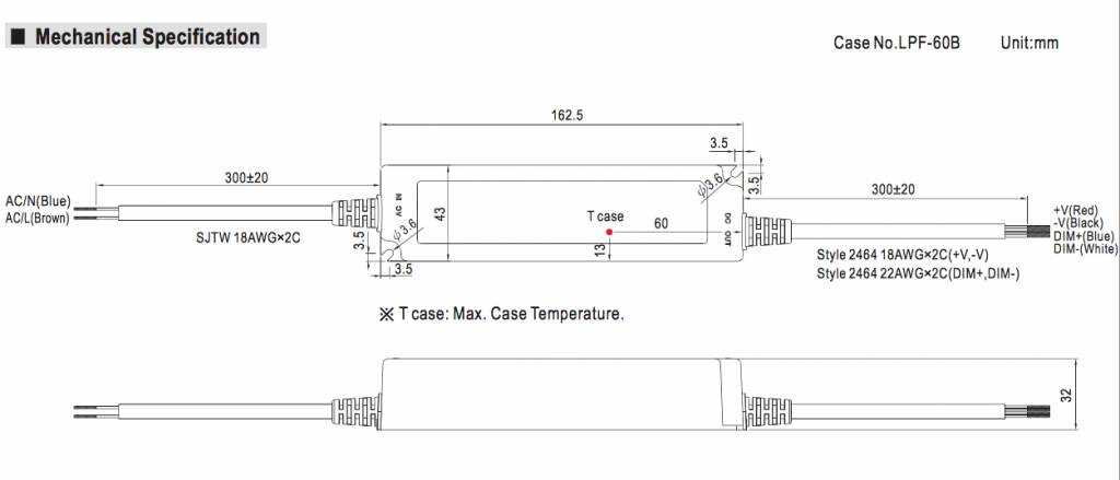 Meanwell LED trafo | 40W | 24V | Dimbaar 1-10V | IP67