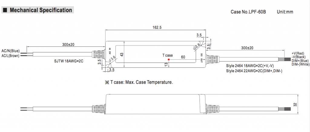 Meanwell LED trafo | 60W | 24V | Dimbaar 1-10V | IP67