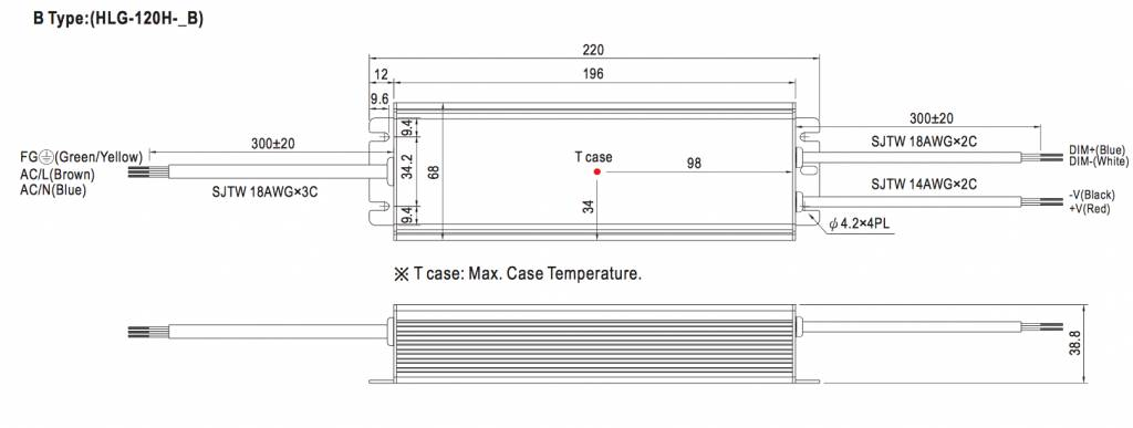 Mean Well LED trafo | 120W | 24V | Dimbaar 1-10V | IP67