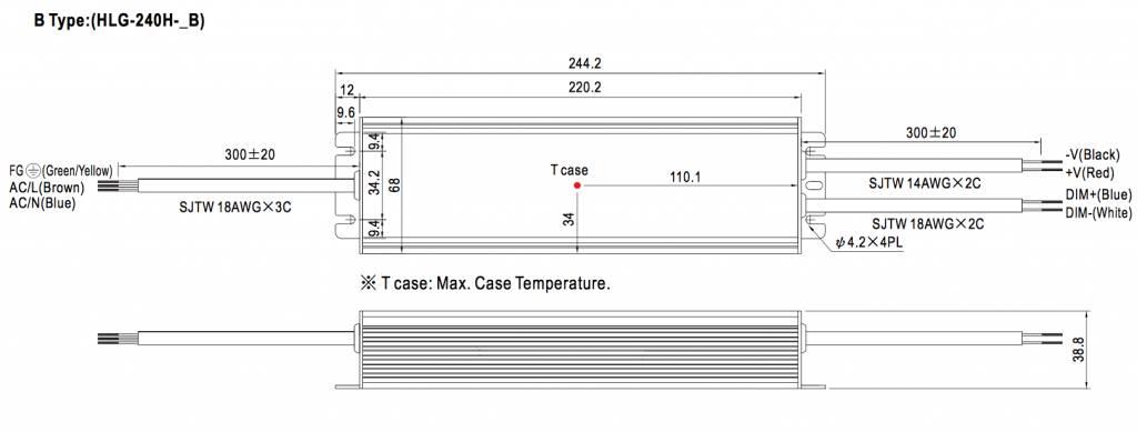 Meanwell LED trafo   240W   24V   Dimbaar 1-10V   IP67
