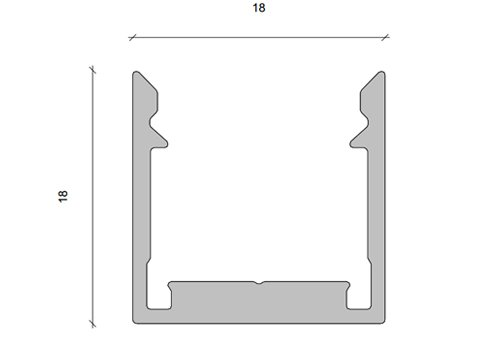 Berla Aluminium LED strip U-profiel | Opbouw | 18 x 18mm