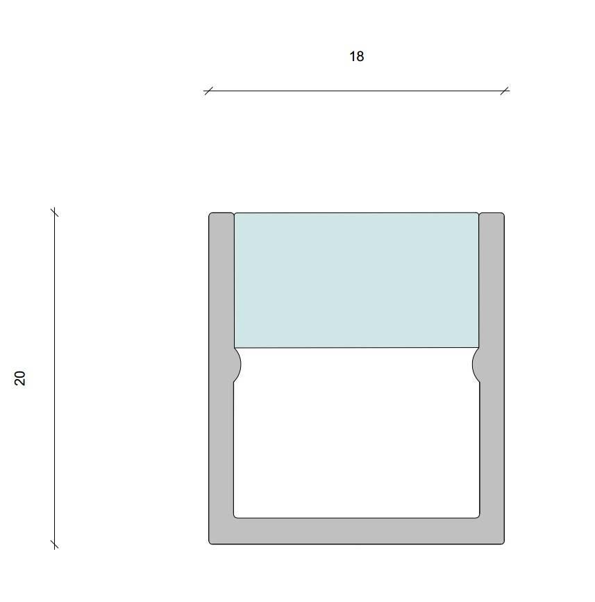 Berla  Aluminium LED strip U-profiel | Opbouw | 18 x 19mm