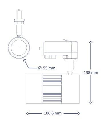 Interlight LED ColourPunch spot zwart 7,5W 36gr Reflector 3.000K CRI>90