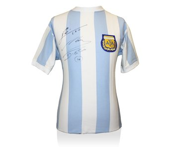 Lionel Messi en Diego Maradona gesigneerd Argentinië shirt