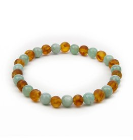 barnsteen Barnsteenarmband Volwassenen - Raw Honey Amazonite