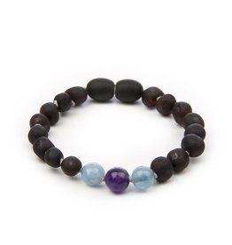 barnsteen Barnsteenarmbandje- Raw Black Cherry Dark Amethyst