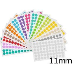 Gekleurde Ronde Cryo-EtikettenØ11mm (voor1,5mlmicrotubes) ** ASSORTI **