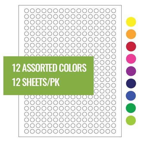 Cryo Labels For Laser Printers - Ø 9mm Assorted Colors (US Letter Format)