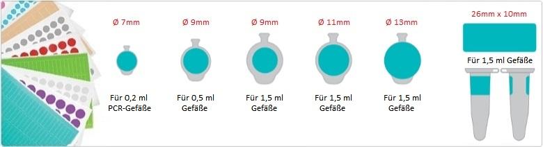 Farbige Runde und Rechteckige Kryo-Etiketten (diagram)