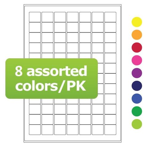 Cryo labels on sheets for laser printers 25x22mm assorted colors (A4 format)