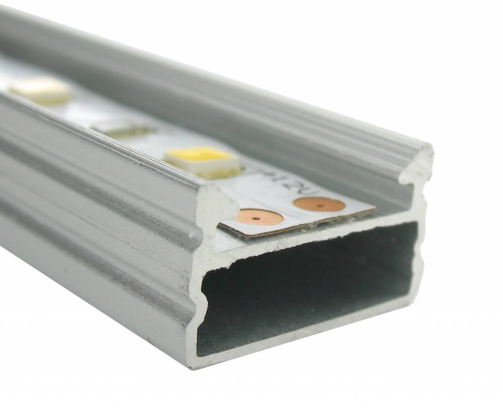 Aluminium opbouw profiel 1m, geschikt voor ledstrips met een maximale breedte van 12mm