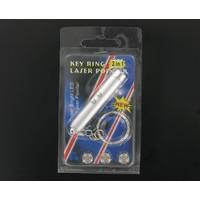 2-in-1 Compacte Laserpen Sleutelhanger  -  LED zaklampje - Inclusief batterijen - Rood