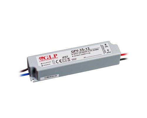 GLP Waterdichte LEDStrip Voedingsadapter 12 Volt 3 Ampere Transformator