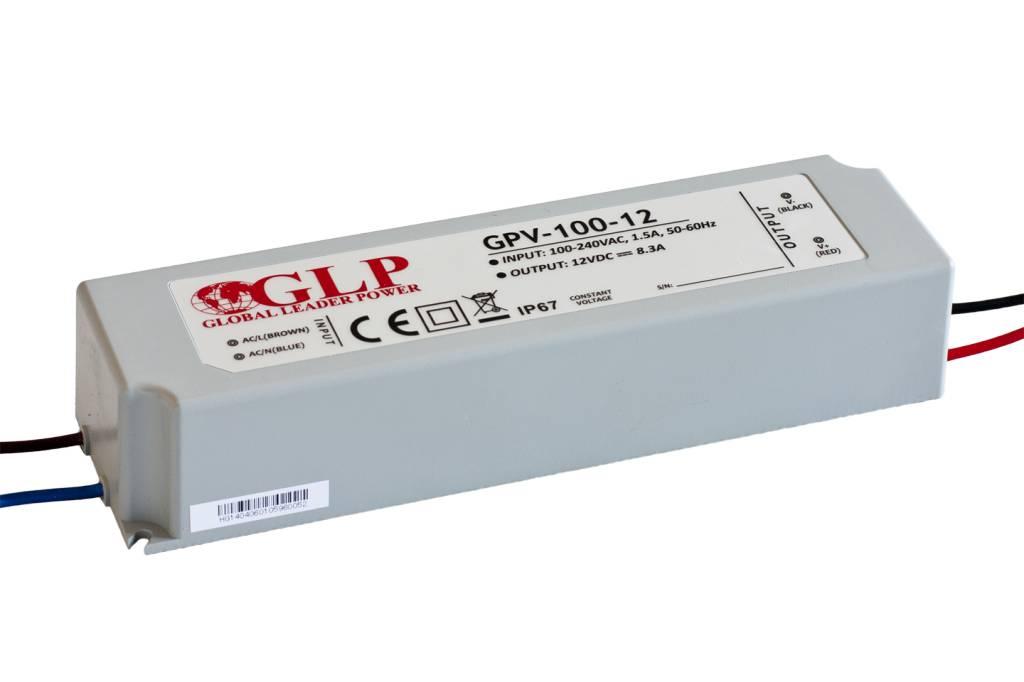 GLP Waterdichte LED Voeding 12V 8.3A 100W