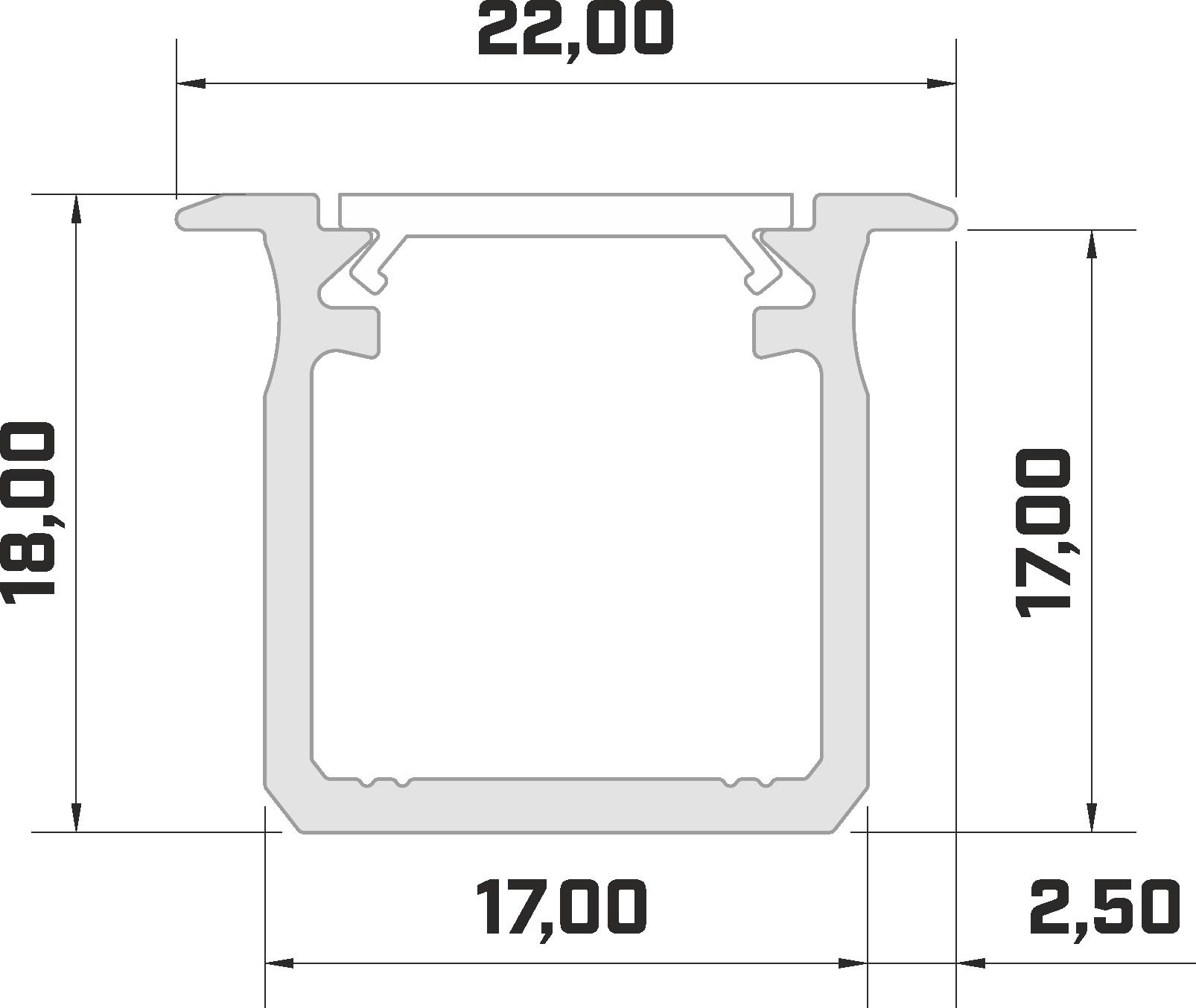 Inbouw profiel technische tekening