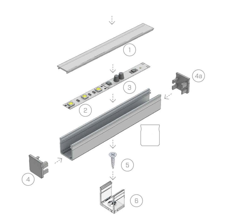 Aluminium profiel opbouw installatie