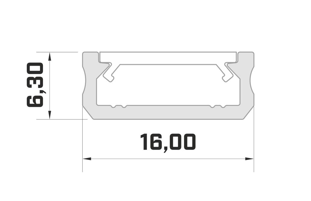 Aluminium opbouw profiel schematisch