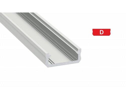 Lumines Aluminium opbouw profiel plat 2 meter (13mm binnenmaat)
