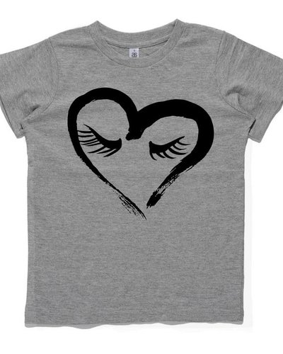 MAIKO MINI gray t-shirt with black shy heart