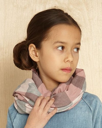 Kids On The Moon Plaid Scarf - Pale Pink