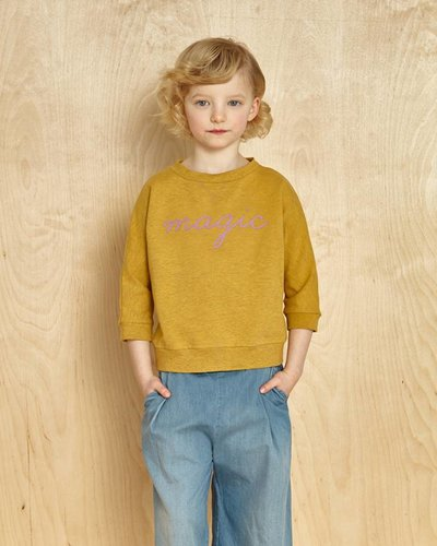 Kids On The Moon Short Sweater - Saffron Marl