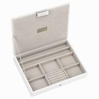 Classic 3-Set Juwelendoos in White & Grey Velvet