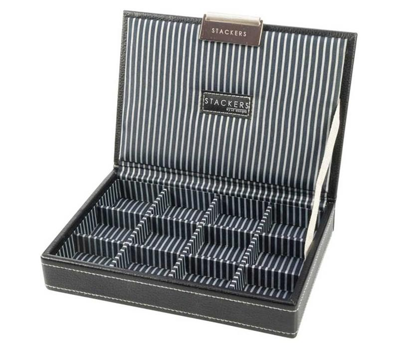 Box Mini Top Stacker voor Manchetknopen in Zwart & Strepen