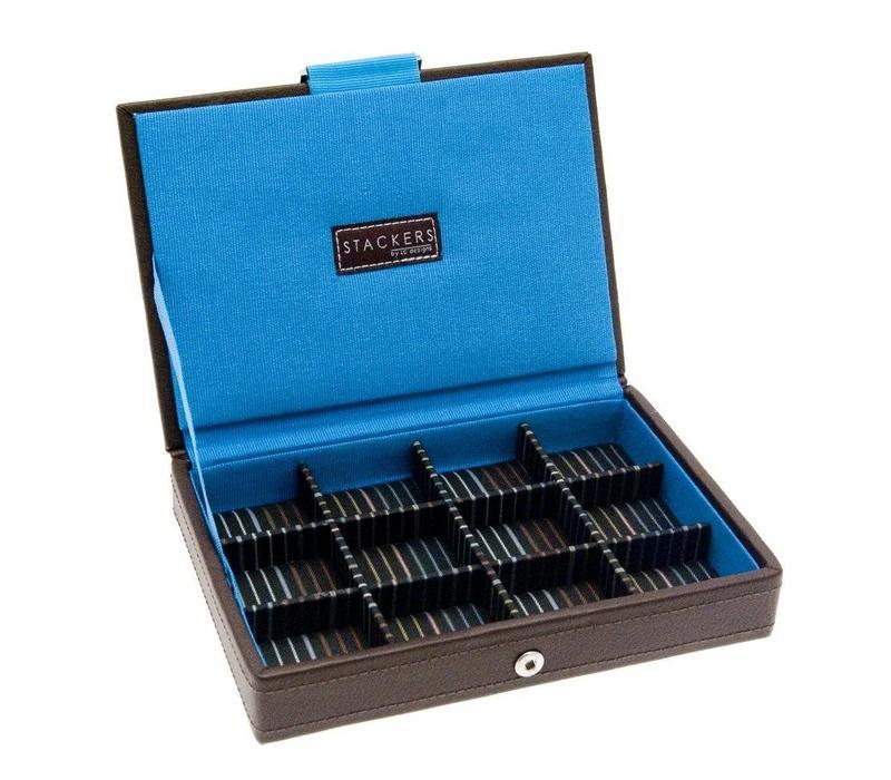 Box Mini Top voor Manchetknopen in Bruin & Strepen