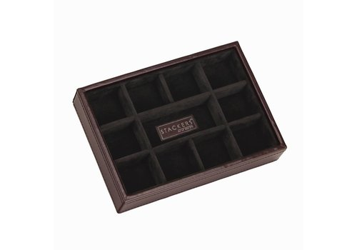 STACKERS Open Cufflink Stacker in Brown & Brown