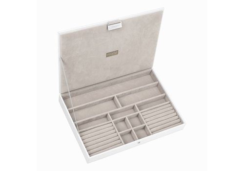 STACKERS Supersize Top-Box | White & Grey Velvet