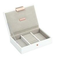 Mini Top-Box in White & Grey Velvet + Rose Gold