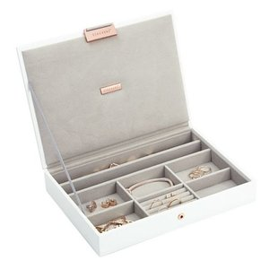 STACKERS Classic Top-Box in White & Grey Velvet + Rose Gold
