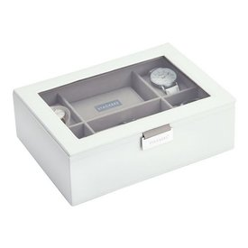 STACKERS Classic Watch-Box | White & Grey Velvet