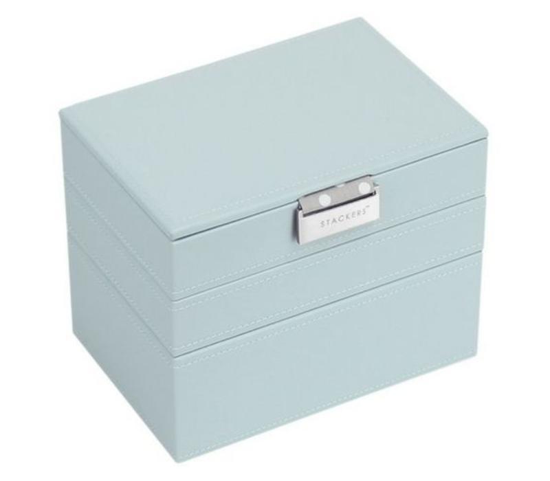 Stackers Mini 3 Set Stackable Jewelry Box In Duck Egg Grey Polka