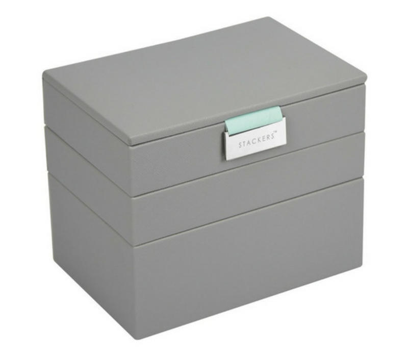 Stackers Mini 3 Set Stackable Jewelry Box In Dove Grey Mint