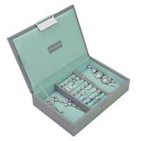 Mini 2-Set Stapelbare Juwelendoos in Dove Grey & Mint