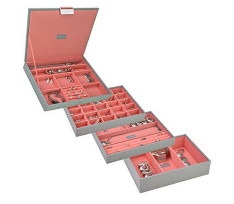 Box Classic 4-Set stapelbare sieradendoos in Dove Grey & Coral