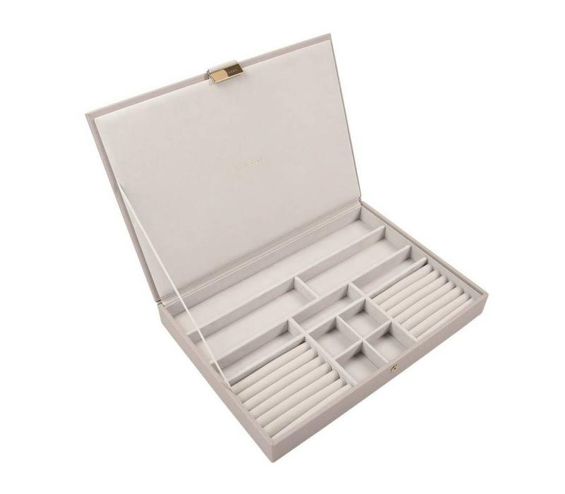 Supersize Top-Box Juwelendoos in Taupe & Grey
