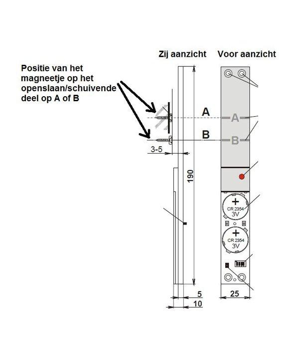 Jablotron Oasis draadloos inbouw magneetcontact