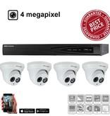 Hikvision IP camerasysteem kit met 4x EXIR dome camera 4 megapixel en 8 kanalen NVR met een 1TB HDD.