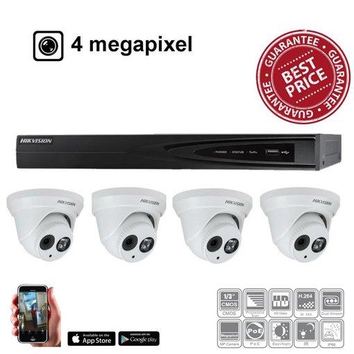 Hikvision IP camerasysteem Kit 4x EXIR cam 4MP