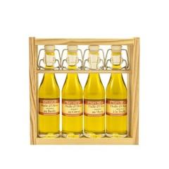 Le Temps des Mets Houten rekje met 4 beugelflesjes olijfolie, vierge extra