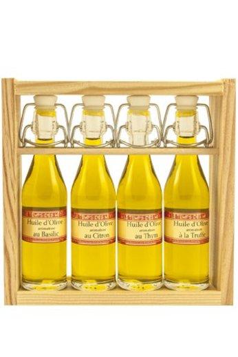 Le Temps des Mets Houten rekje met 4 beugelflesjes (à 5 cl) olijfolie, vierge extra