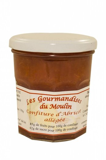 Moulin Jouve Abrikozen jam met 84 gr fruit per 100 gr. Pot à 350 gr, Moulin Jouve