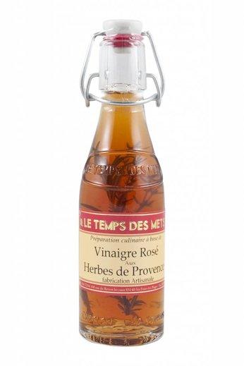 Le Temps des Mets Franse rosé wijnazijn met Provençaalse kruiden 20cl.