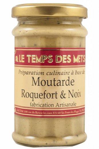 Le Temps des Mets Franse mosterd met Roquefort en noten 200 gram