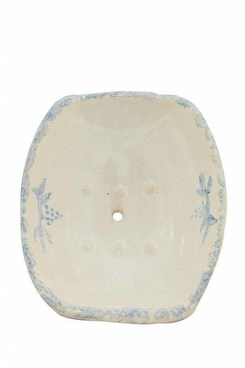 Poterie du Château de Grignan Frans aardewerk zeepschaaltje wit met blauwe rand van Poterie du Château