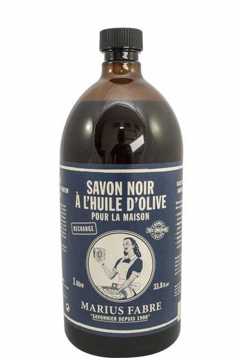 Marius Fabre Zwarte olijfzeep, navulling van 1 liter, L'authentique Savon Noire à l'huile d'olive pour la maison.