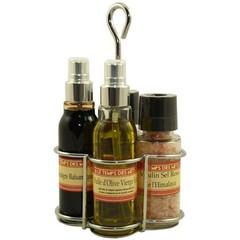 Le Temps des Mets Presenteerstel olijfolie, balsamicoazijn, peper- en zoutmolen