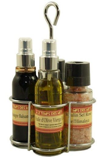 Le Temps des Mets Presenteerstel olijfolie, balsamicoazijn, peper- en zoutmolen van Le Temps des Mets